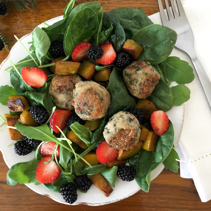 Chicken and Basil Meatballs with Salad