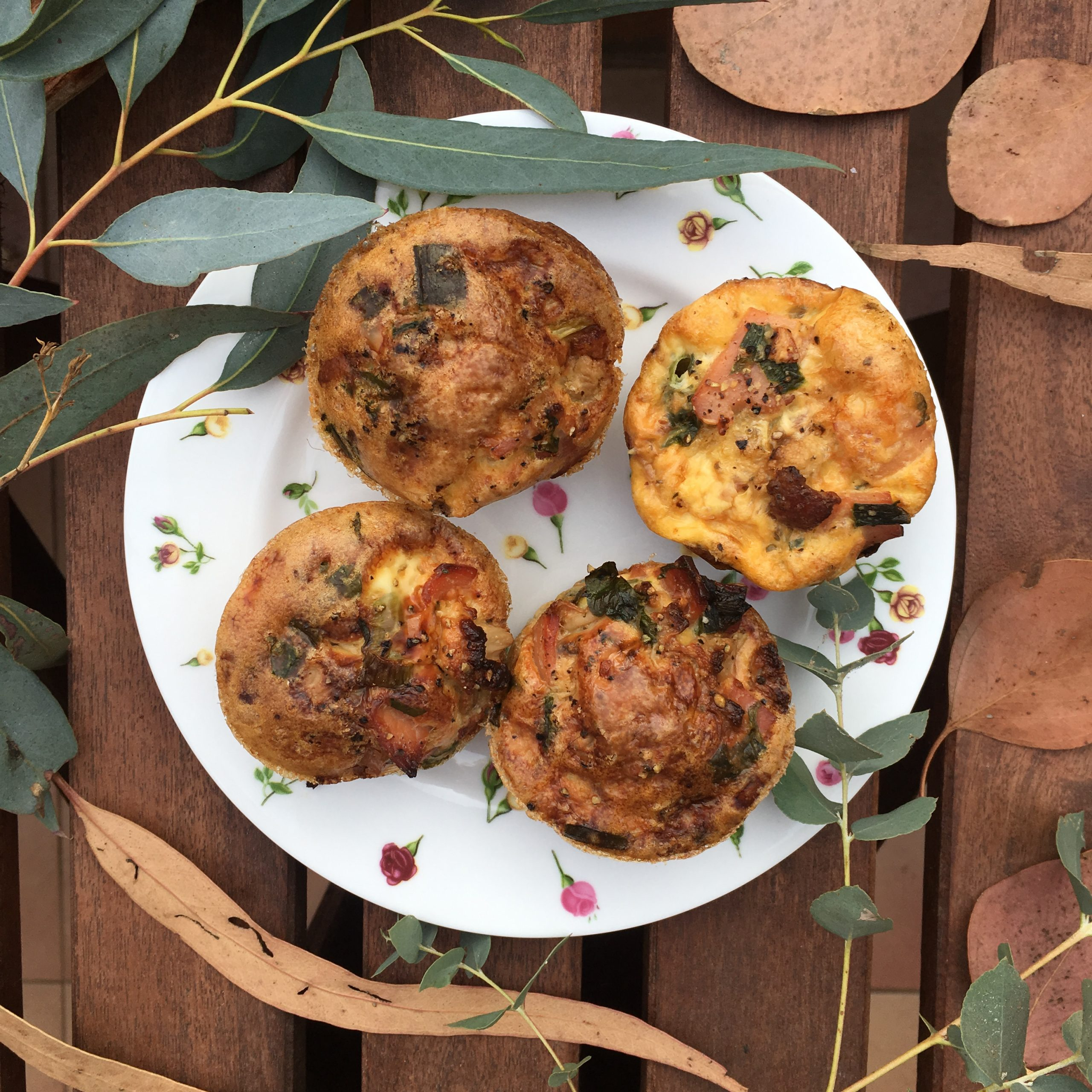 Bacon and Egg Breakfast Muffins with Gum Leaves