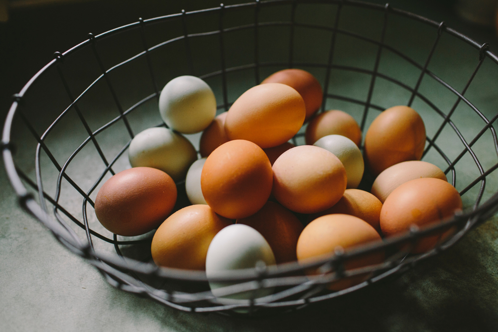 Eggs in a wire basket.