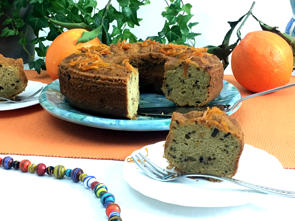 Orange and Chocolate Cake served on a white plate.