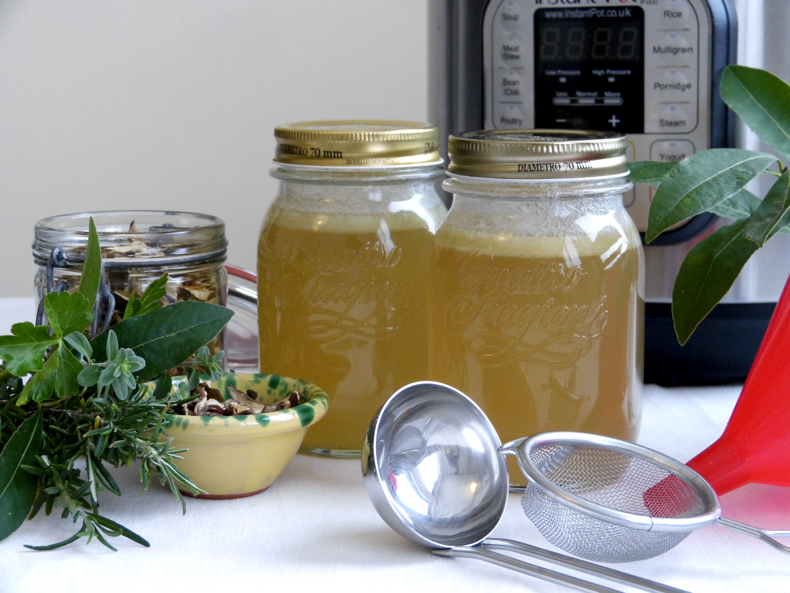 Homemade Bone Broth in Jars.