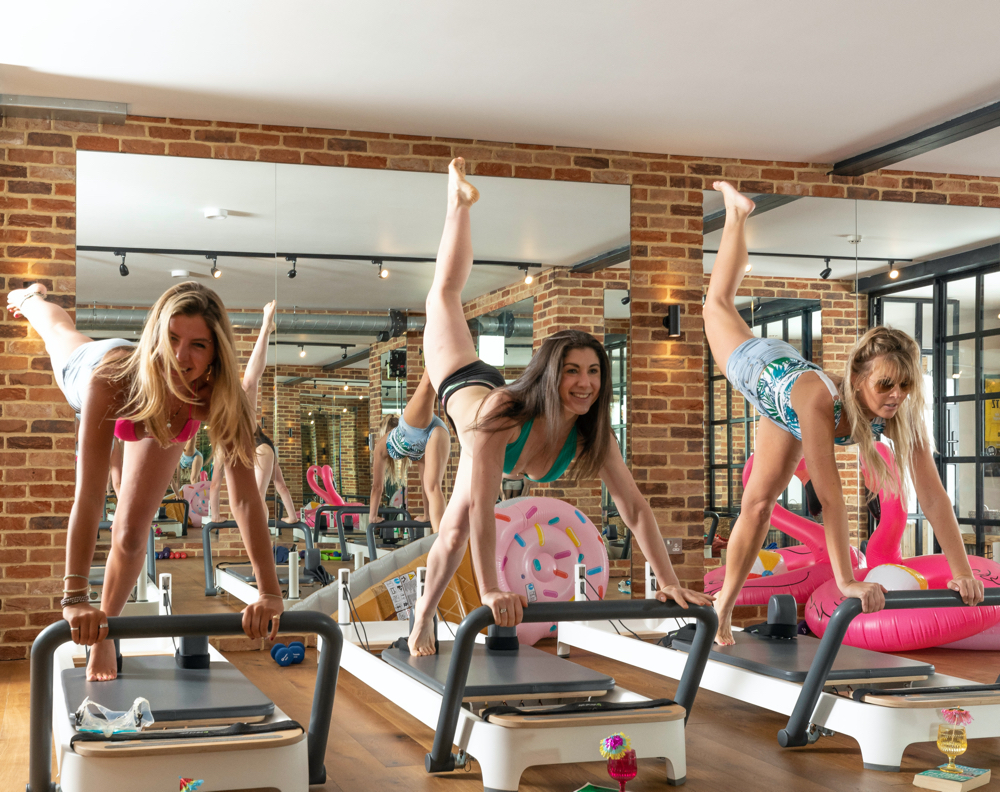 Women doing healthy aerobic exercise.