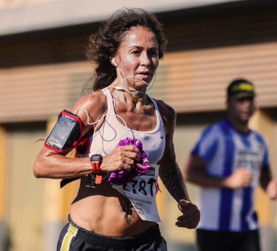 Woman running a marathon.