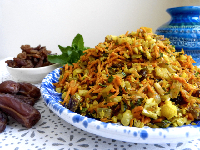 """Moroccan Inspired Paleo """"Cous Cous"""" Salad with Carrot, Dates and Mint"""