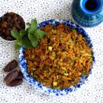 """Moroccan inspired """"cous Cous"""" salad, healthy and grain free."""