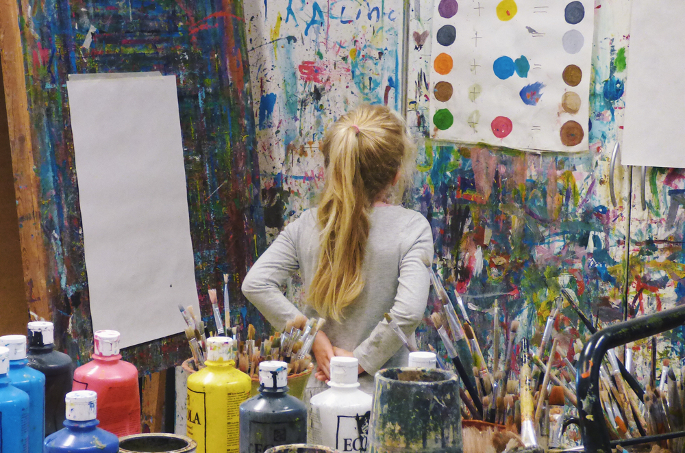 Girl in a painting studio