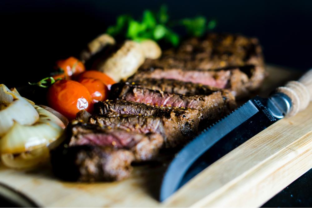 Steak and knife.