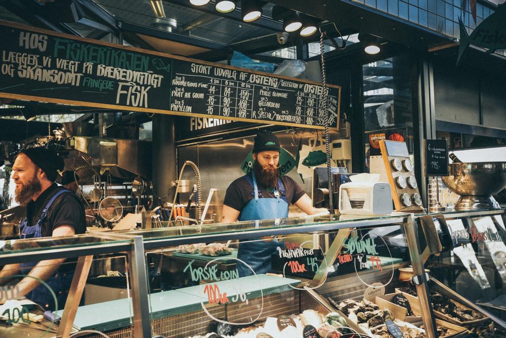 Men working in a fishmarket.
